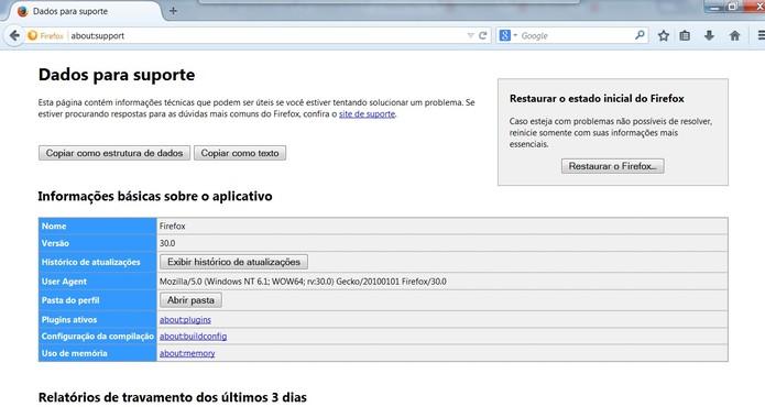 Página de suporte é igual a que pode ser encontrada em Solucão de Problemas no menu Ajuda (Foto: Reprodução/Mozilla)