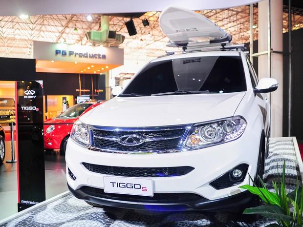 Tiggo 5, da Chery, é exibido no Salão do Automóvel de São Paulo (Foto: Alan Morici/G1)