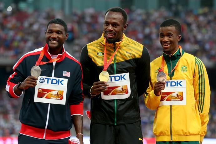 Usain Bolt Justin Gatlin Jobodwana pódio 200m Mundial Pequim atletismo (Foto: Getty Images)