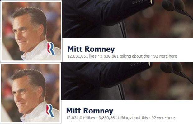 Número de 'likes' recebidos por Romney cai a cada minuto em sua página no Facebook (Foto: Reprodução)