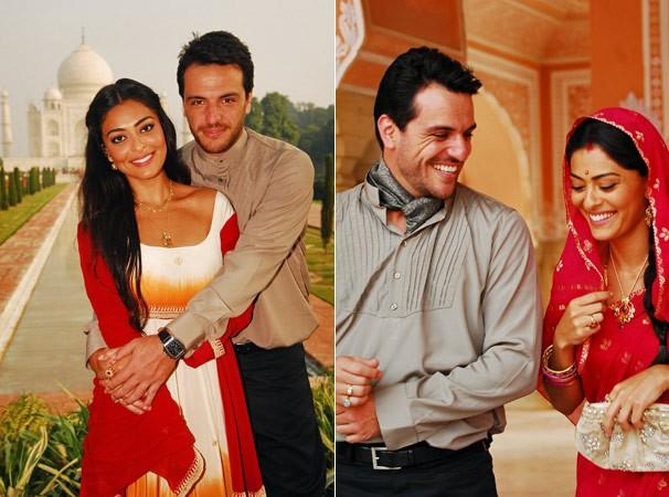 Maya (Juliana Paes) e Raj (Rodrigo Lombardi) se apaixonam em Caminho das Índias (Foto: CEDOC Globo)