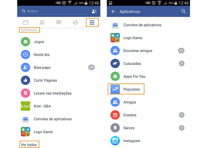 Acesse o menu do Facebook pelo app e toque em Populares (Foto: Reprodução/Barbara Mannara)