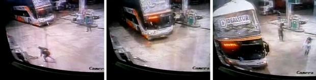 Quadrilha também usou ônibus para derrubar parede do escritório do posto de gasolina (Foto: Reprodução/ Inter TV Cabugi)