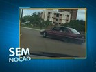Motorista faz 'cavalo de pau' e quase provoca acidente em rotatória; vídeo
