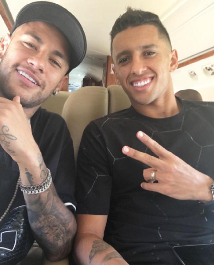 Neymar Marquinhos embarque seleção brasileira (Foto: Reprodução/Instagram)
