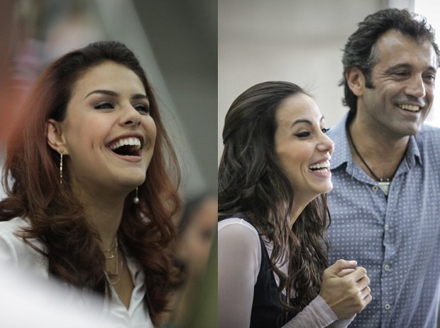 Atores se divertem nos bastidores de gravação (Foto: Salve Jorge / TV Globo)