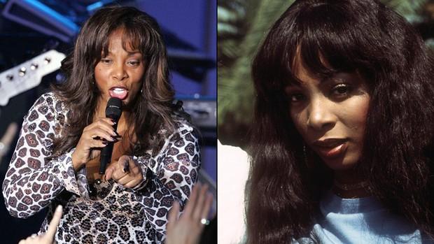 Donna Summer em dois tempos, com 40 anos de diferença: em 2007, à esquerda, e em 1977 (Foto: Getty Images e AFP)