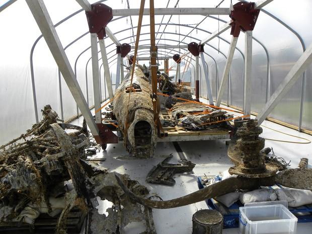 'Dornier 17' dentro do túnel de hidratação (Foto: RAF Museum/Divulgação)