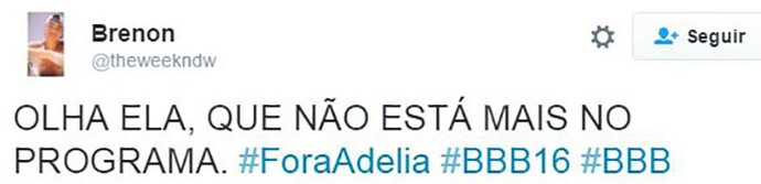post eliminação adélia bbb16 (Foto: web)