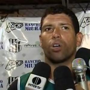 Jadson fala sobre o primeiro gol com a camisa do Democrata GV, durante entrevista. (Foto: Reprodução/InterTV)