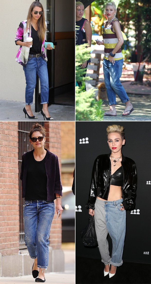 Jessica Alba, Gwen Stefani, Katie Holmes e Miley Cyrus. (Foto: Grosby Group e Getty Images)