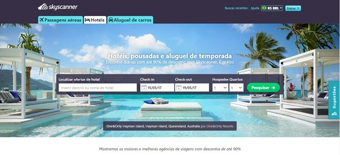 Skyscanner também oferece comparador de preços em hospedagem