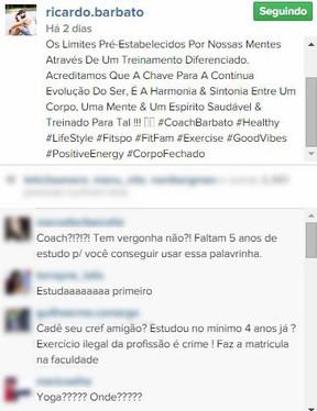 Comentários no post de Ricardo Barbato (Foto: Instagram / Reprodução)