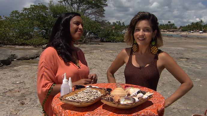Paula Outerelo mostra a Paulinha como customizar acessórios (Foto: TV Bahia)
