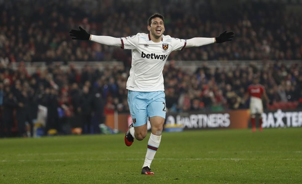 Calleri fez um gol pelo West Ham: contra o Middlesbrough em janeiro (Foto: Lee Smith/Reuters)