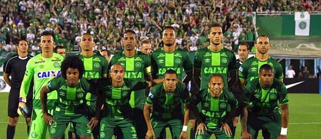 Os jogadores Chapecoense antes do jogo contra o San Lorenzo, Argentina. Jogo que classificou a Chapecoense para a final da Copa Sul-Americana contra o Atlético Nacional da Colômbia