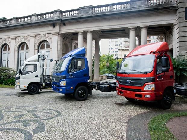 Caminhões da montadora chinesa foram expostos no Palácio Piratini, em Porto Alegre (Foto: Alina Souza/Palácio Piratini   )