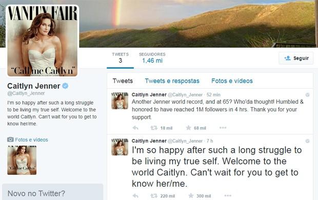 Caitlyn Jenner bateu recorde no Twitter nesta segunda (1º) (Foto: Reprodução/Twitter)