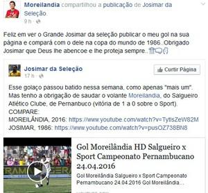 Moreilândia, elogio Josimar, Salgueiro (Foto: Reprodução /Facebook)