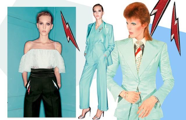 """David Bowie: Looks do verão 2017 da Racil, inspirado em ídolos do rock, e broches da coleção (Foto: Reprodução Clipe """"life On Mars"""" De Mick Rock, Ebet Roberts/getty Images, Neville Hopwood/Getty Images e Divulgação)"""