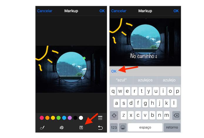 Texto digitado sobre uma imagem da biblioteca do iOS 10 (Foto: Reprodução/Marvin Costa)