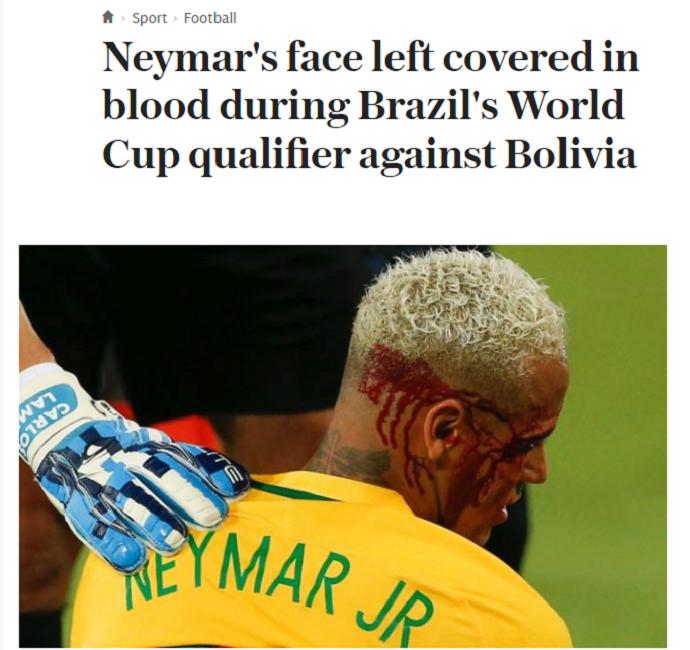 Neymar Telegraph (Foto: Reprodução)