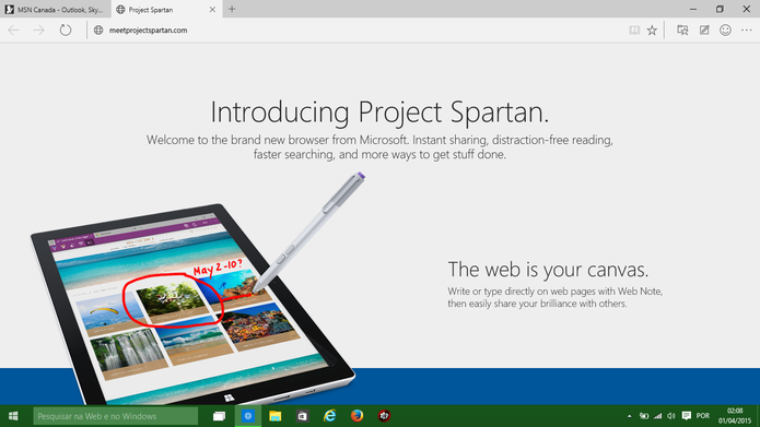 Project Spartan foi lançado pela Microsoft na build 10049 do Windows 10 (Foto: Reprodução/Elson de Souza)