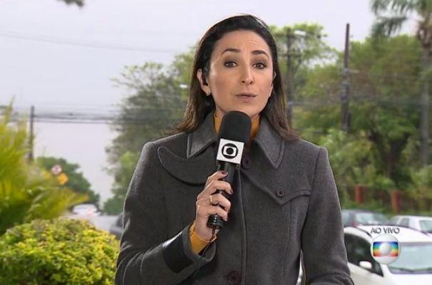 Patrícia Cavalheiro fez entrada ao vivo no telejornal (Foto: Reprodução/RBS TV)