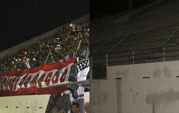 Estádio Barretão: alambrado cedeu durante a final do Campeonato Potiguar (Foto: Augusto Gomes)