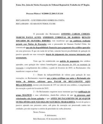 Documento Guarani Justiça ex-jogadores dívida trabalhista (Foto: Reprodução)