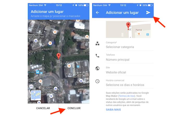 Finalizando a inclusão de uma empresa não cadastrada no Google Maps pelo celular (Foto: Reprodução/Marvin Costa)