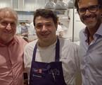Zico, Rafa Costa e Silva e Alberto Renault numa gravação do 'Chefs brasileiros' | Bruno Prada