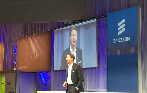 Vest Bestbergs, presidente-executivo da Ericsson, durante fala na MWC 2015 (Foto: Helton Simões Gomes/G1)