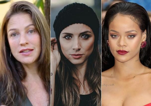 Luana Piovani, Angela Sousa e Rihanna denunciaram após agressão (Foto: Instagram/Reprodução/Getty Images)