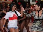 Ex-BBB Munik cai no samba com Viviane Araújo em ensaio do Salgueiro