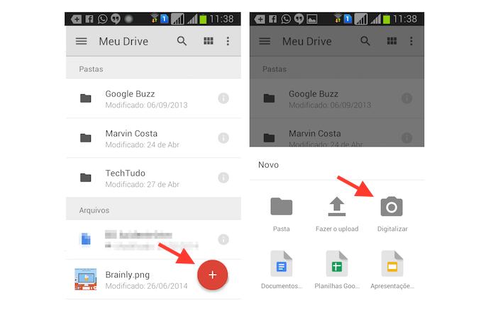 Acessando a ferramenta digitalizadora de documentos do Google Drive para Android (Foto: Reprodução/Marvin Costa)