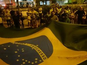 Manifestantes levaram bandeira para a avenida (Foto: Amanda Campos/G1)