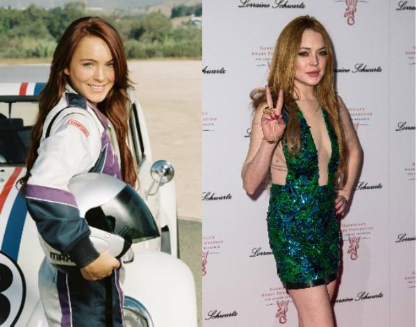 Lindsay Lohan durante as filmagens de 'Herbie' em 2005 e em uma foto recente (Foto: Getty Images/Divulgação)