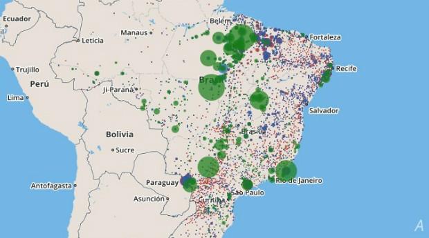 Observatório Digital do Trabalho Escravo: na ferramenta, há um mapa que mostra a localização de acontecimento dos crimes  (Foto: Reprodução)
