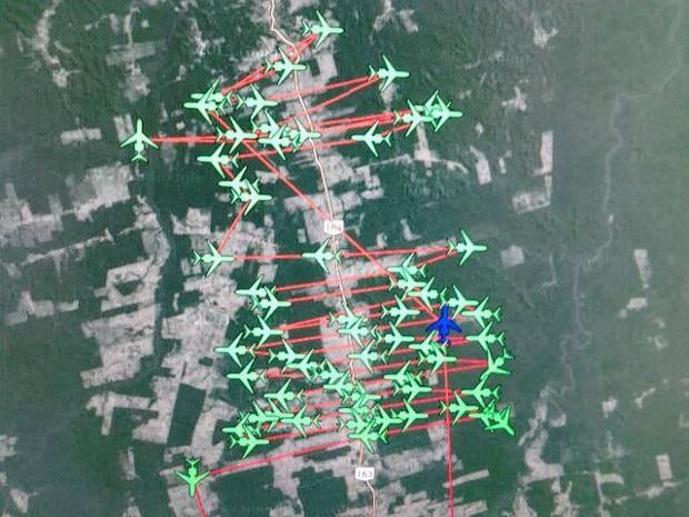 Imagem mostra o padrão de busca utilizado pela FAB.  (Foto: Tenente Baptista/FAB)