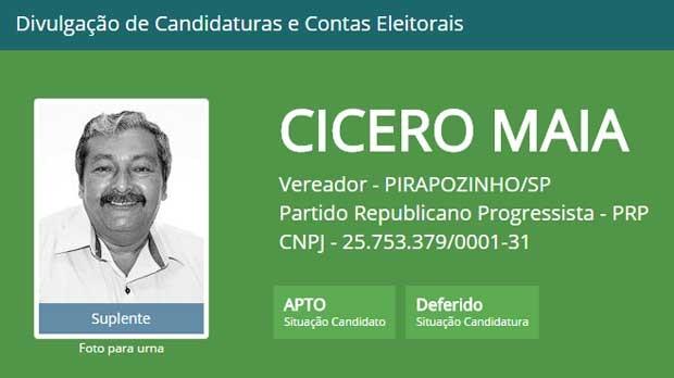 Cicero Alves Maia (PRP) também foi cassado pela Justiça (Foto: Reprodução/TSE)
