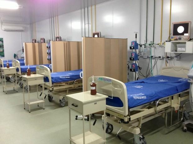 Leitos na unidade de Assistência Médica Intensiva, Zona Sul de Porto Velho (Foto: Ivanete Damasceno/G1)