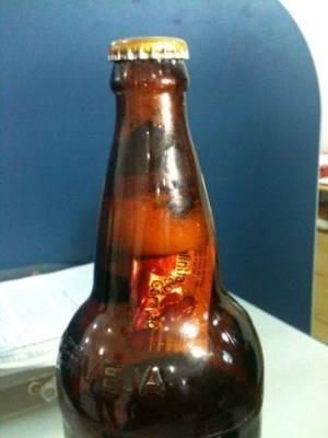 Consumidor percebeu corpo estranho dentro da garrafa antes de abrir (Foto: Sergio Cavalcante / Procom)