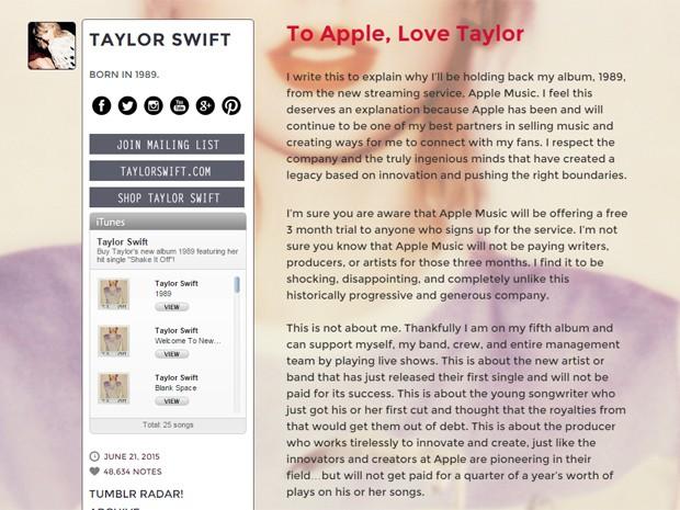 Trecho da carta aberta de Taylor Swift à Apple (Foto: Reprodução/Tumblr/Taylor Swift)