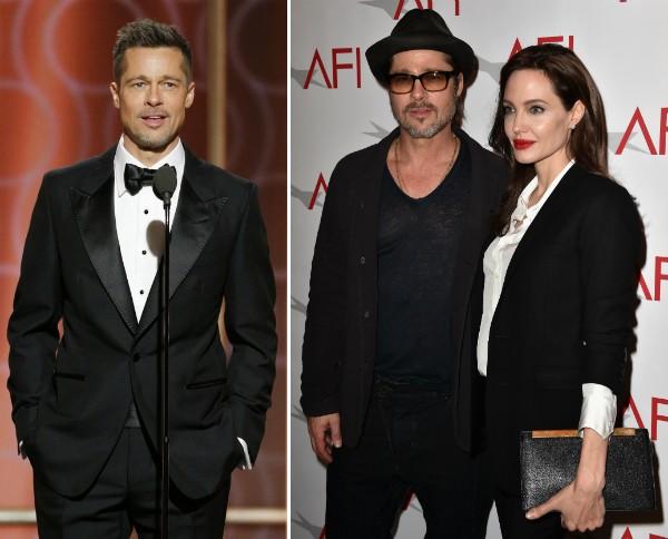 O ator Brad Pitt no Globo de Ouro 2017 e em evento público com Angelina Jolie (Foto: Getty Images)