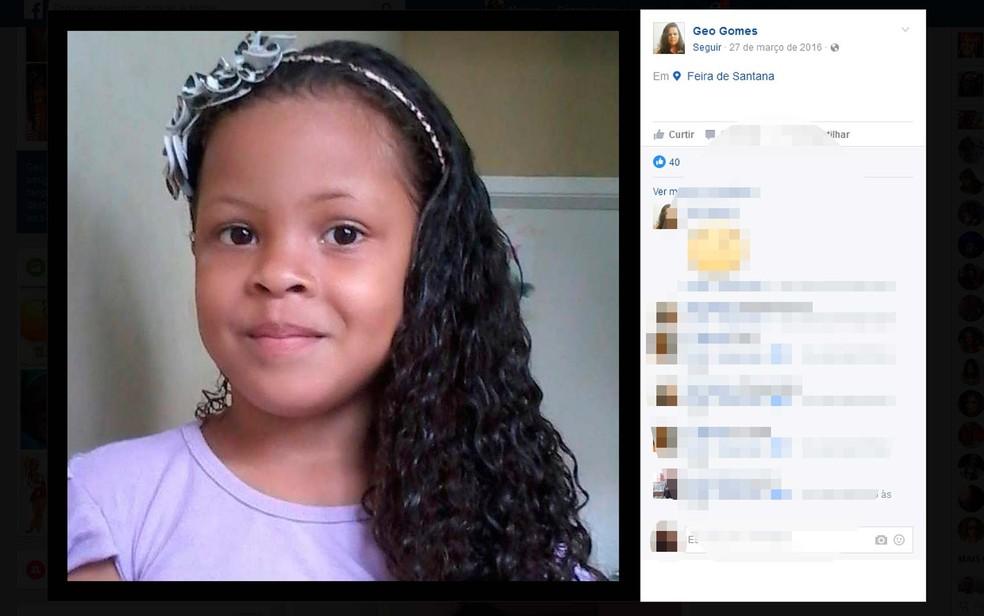 Gabrielly Gomes de 7 anos estava desaparecida há três meses na Bahia (Foto: Reprodução/Facebook)