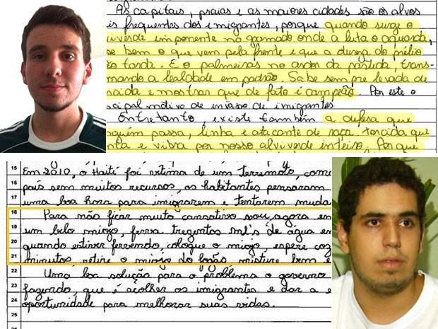 Fernando Maioto Júnior e Carlos Guilherme Ferreira tentaram testar sistema de correção da redação do Enem (Foto: Reprodução/Arquivo pessoal)