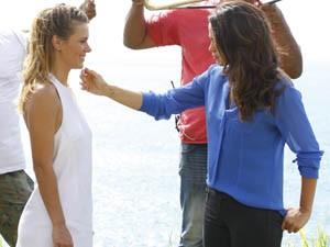 Carolina e Nanda gravam cenas de Jéssica e Morena  (Foto: Salve Jorge / TV Globo)