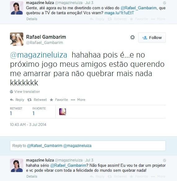 Perfil da Magazine Luiza no Twitter presenteia Rafael com um projetor multimídia  (Foto: Reprodução Twitter)