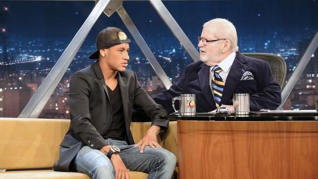 Neymar em entrevista no Programa do Jô (Foto: Marcelo Hazan)